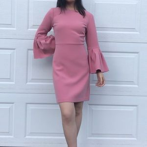 Ann Taylor Pink Sea Shell Bell Sleeve Flare Dress